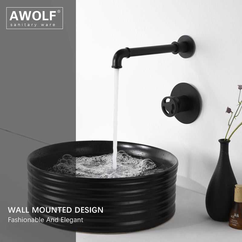 Black Wall Mounted Single Lever Bathroom Faucet