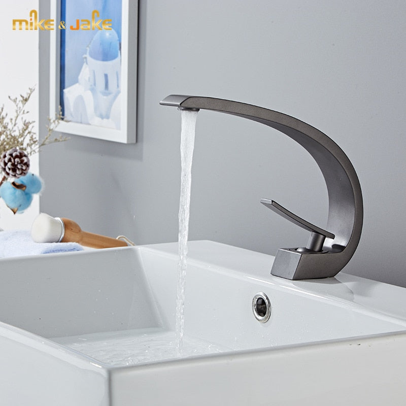 Gun metal color single hole lavatory sink faucet