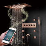 Rose Gold Polished Smart Shower WIFI Music LED Rain Head With Waterfall, Mist Spray and Thermostatic Hand Held Spray with 6 Body Jets Massage Sprayers shower kit