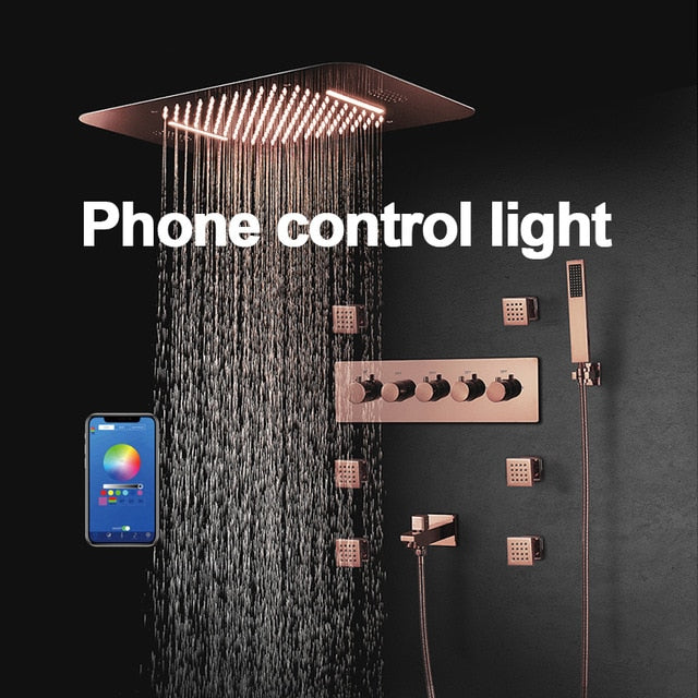 Rose Gold Polished Smart Shower WIFI Music LED Rain Head With Waterfall, Mist Spray and Thermostatic Shower Hand Held Spray with 6 Body Jets Massage Sprayers