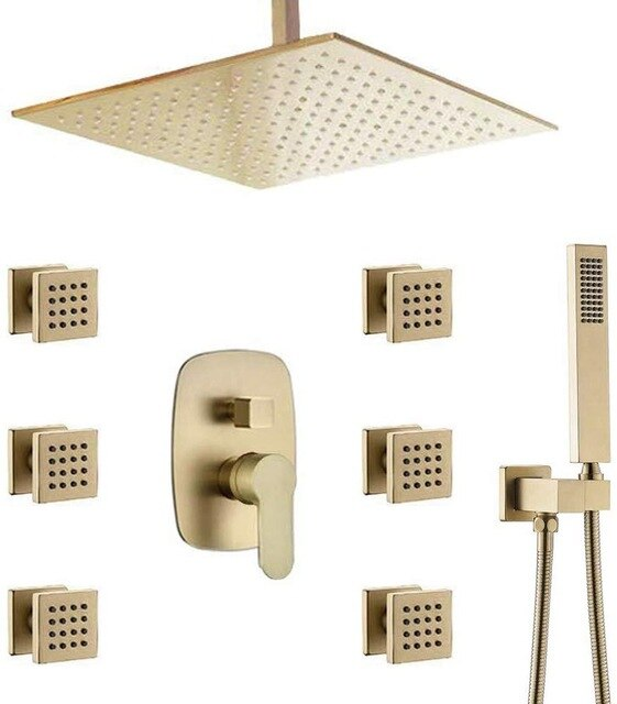 Brushed Gold - Square 12 Inch Rain Head 3 Way Diverter Shower with 6  Body Jets Massage Sprayer Completed Set