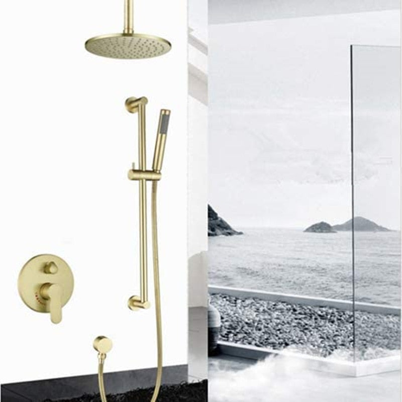 Brushed Gold - Round 12 Inch Rain Shower Head 2 Way Diverter Pressure Balance Shower Kit