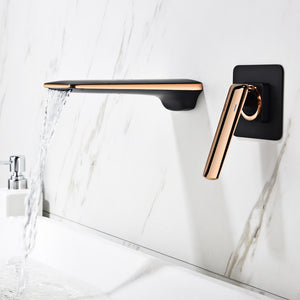 Rose gold with black single lever wall mounted bathroom faucet