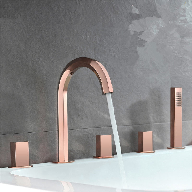 Rose Gold Polished- Gold-Black - Chrome 5 Holes Deck Mount Tub Filler with Hand sprayer kit