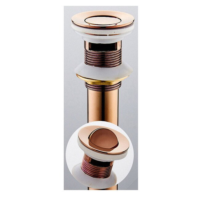 Rose Gold  Pop Up Drain  Assembly Replacement Kits Stopper, Flip Top, Overflow