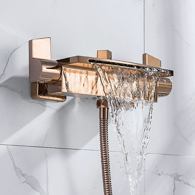 Rose Gold-Gold-Black-White-Chrome Wall Mounted Waterfall and Option Hand held Sprayer Bathtub Filler Set