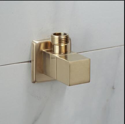 BRUSHED GOLD SHUT OFF VALVE 90/ ANGLE  1/2 X 1/2 INCH