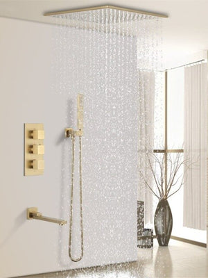 Brushed Gold Thermostatic Rain and Tub Filler 3 Way Diverter Shower Kit