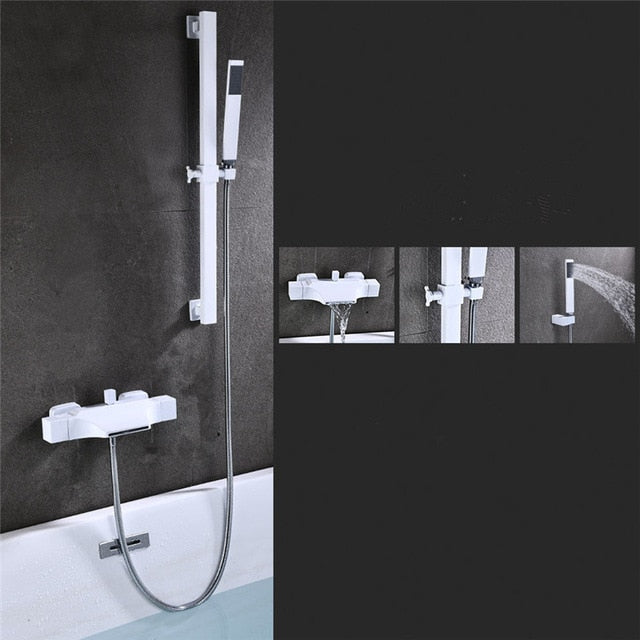 Black Gold and White Exposed Thermostatic Tubfiller and hand held srayer shower kit