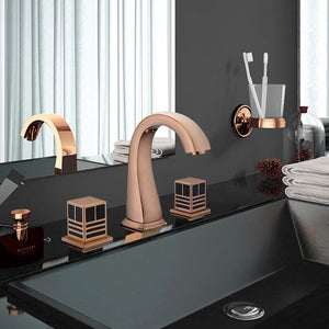 Basin Faucet Mixer Bathroom Sink Faucets Black Paint Brass 3 Holes Double Handle Bathbasin Bathtub Tap Hot and Cold Water Taps