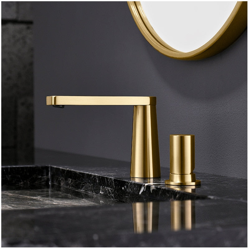 Brushed Gold & White  Modern Euro Bathroom Faucet