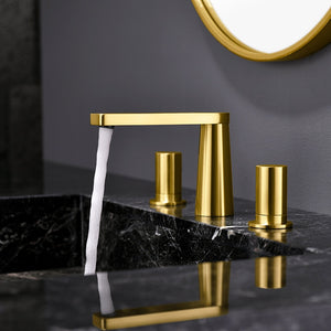 "Brushed Gold 8"" Wide Spread Bathroom Faucet"
