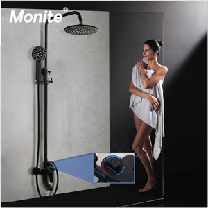 Black Thermostatic exposed shower system kit