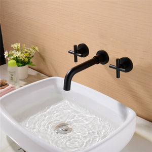 Matte Black Cross Handles Wall Mounted Lavatory Faucet