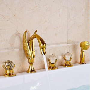 Swam Gold Deck Mount Bathtub Filler Faucet With Hand Held Sprayer Completed Set