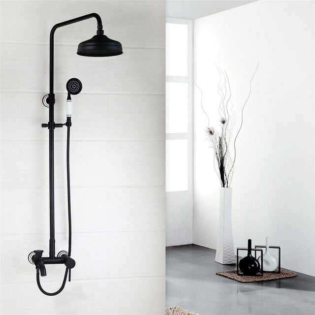 Black with touch of Oil Rubbed Bronze Antique Victoria Style Exposed 3 Way Shower Kit System with Porcelain Handle