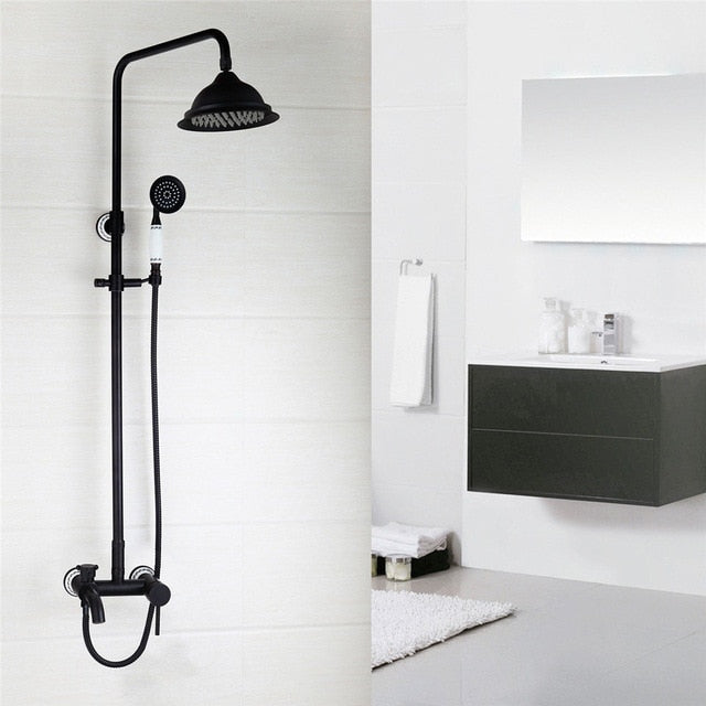 Black Antique Victoria Style Exposed 3 Way Shower System with Porcelain Handle
