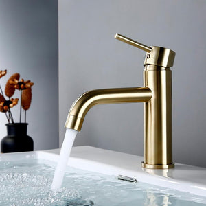 Brush Gold Bathroom Faucet Round Single Handle Basin Mixer Tap Bathroom Hot and Cold Small Sink Faucet