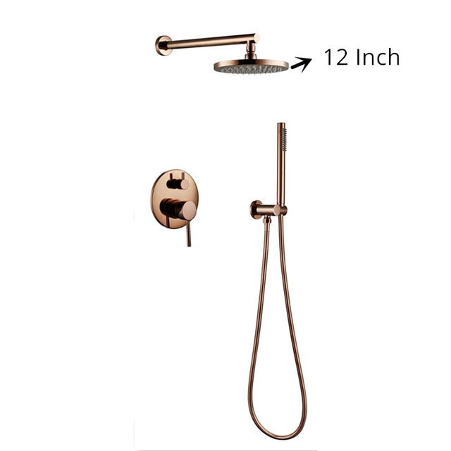 Rose Gold Polished Wall Mounted With 8-12 Inch Round Rain Head 2 Way Diverter Shower Set