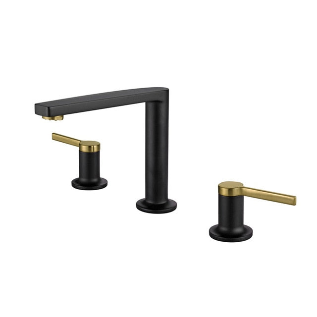 Two Tone Black- Brushed Gold 8 Inch Wide Spread Faucet