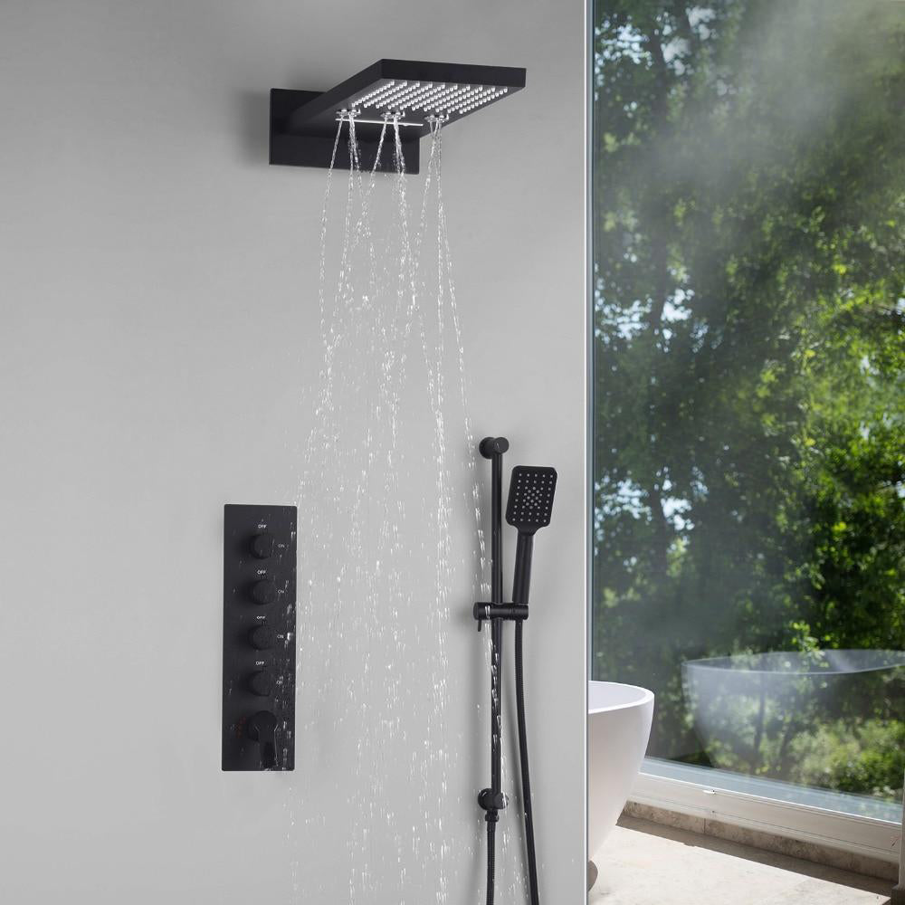"Black 22""Waterfall Rain Thermostatic Shower System 4 Way Function Completed Set"