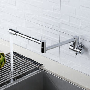 Chrome Wall Mounted Pot Filler Faucet
