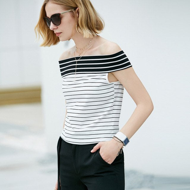 Off Shoulder T-Shirt Strip Slash