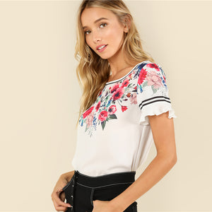Multicolor Casual Flower Print