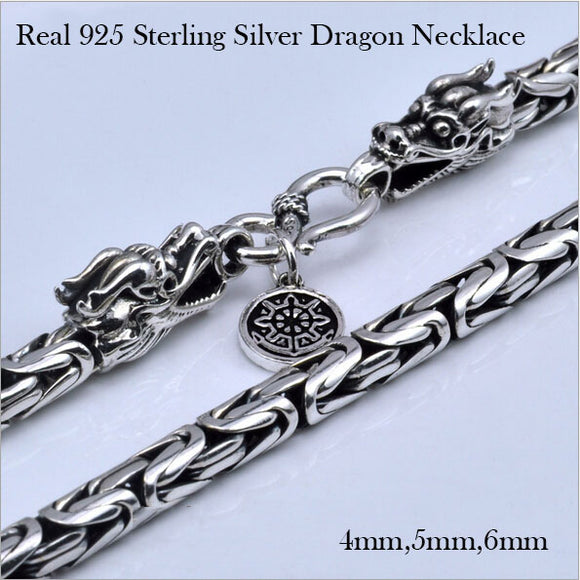 2016 100% Real 925 Sterling Silver Necklace Cross Thick Chain Men jewelry Thai silver Vintage Dragon Necklace for Man Gift HX02