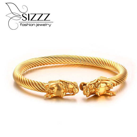2016 Fashion Elastic  dragon bracelet Steel Twisted Cable Cuff Bangles silver gold color polished Jewelry