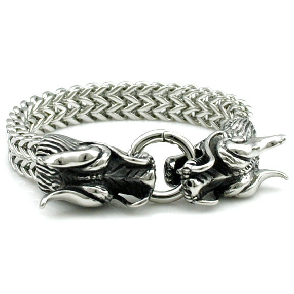 ATGO Cool Stainless Steel Double Dragon Bracelets For Men Personality Fashion Stainless Steel Bangle Men's Gift BB1363