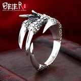 Beier 925 silver sterling jewelry 2015  Men's Retro domineering ring  dragon claw opening ring  D1243