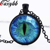 Blue Dragon Cat Eye Necklace Pendant Fantasy Picture Photo Art Handmade Jewelry glass Cabochon Woman Pendant Necklace