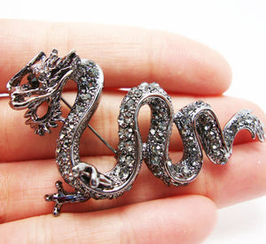 Charming Black Crystal Dragon Brooch, Stylish Jewelry