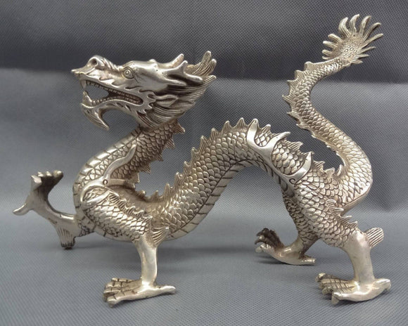 Chinese Silver Zodiac Myth Beast Figurine Wealth Fly Dragon Bronze Statue. Very Classy. Very Very Nice Looking.