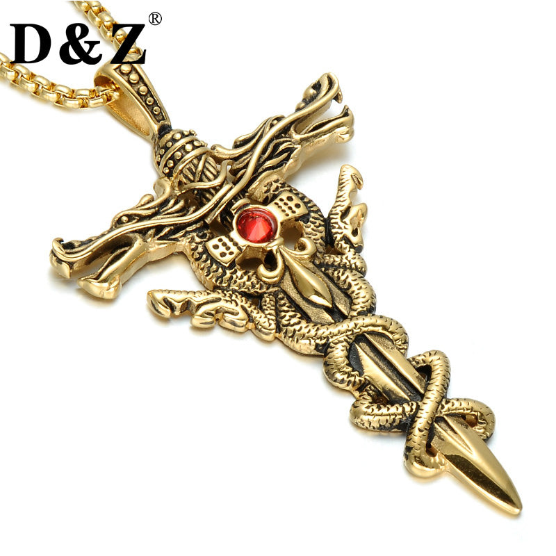 5e565d39972 Gold Color Dragon Sword Cross Necklace Stainless Steel Paving Red  Rhinestones Cross Pendant   Necklace Jewelry ...