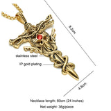 Gold Color Dragon Sword Cross Necklace Stainless Steel Paving Red Rhinestones Cross Pendant & Necklace Jewelry