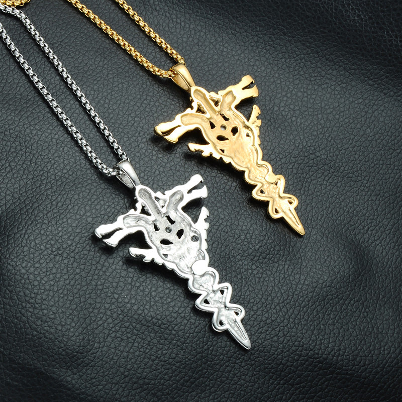 Gold color dragon sword cross necklace stainless steel paving red gold color dragon sword cross necklace stainless steel paving red rhinestones cross pendant necklace jewelry aloadofball Image collections