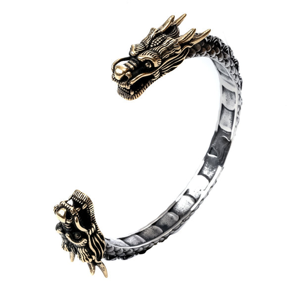 Dragon bangle bracelet stainless steel women punk jewelry gold silver color birthday party gift for her girlfriend dropship B056