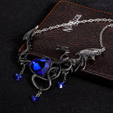 European Necklace For Women Men Gothic Vintage Red Heart Dragon Necklace wholesale Jewelry