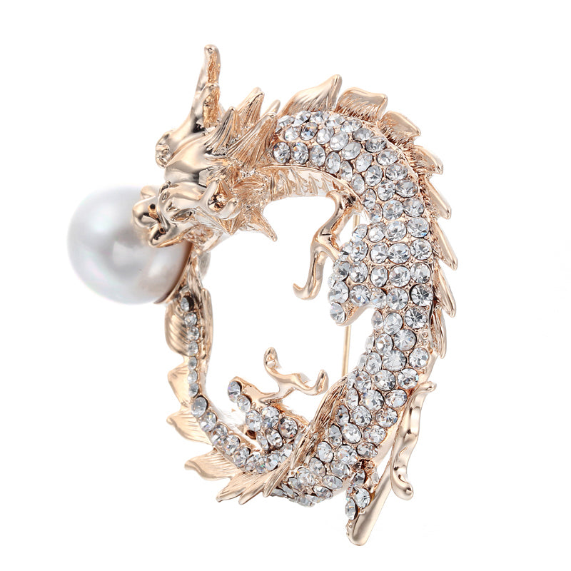 46357d7e28e ... Luxury Chinese Gold-color Brooch with Imitation but Attractive Pearl ...