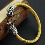 Fashion Men Punk Leading Opening Plated Steel Wire Viking Bracelet Unisex Titanium Silver And Gold Dragon Steel Stripes Bracelet