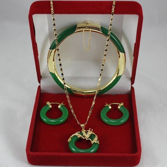 4Colors! Green Red Purple stone Black stone Bangle Earring Dragon Pendant Set