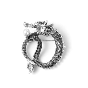 H:HYDE Women's  Men's Business Casual Brooches For  Men Jewelry Silver Gold Color Vintage Dragon Lapel Pin Men Brooch