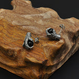 Punk Style Earrings.  Stainless Steel Feather Dragon Claws Bead Earrings