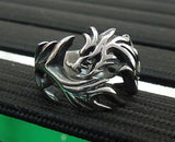 New Punk Rock Vintage Male Jewelry Antique Silver Mens Biker Rings Hollow Dragon Claw Ring For Women / Men Opening Finger Ring