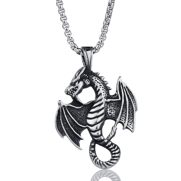 Stainless Steel Necklaces Hippocampus Dragon Wing Zodiac Pendants Necklace for Men Jewelry Unique Gifts Silver/Gold