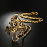 Punk Stainless Steel Necklaces Hippocampus Dragon Wing Zodiac Pendants Necklace for Men Jewelry Unique Gifts Silver/Gold