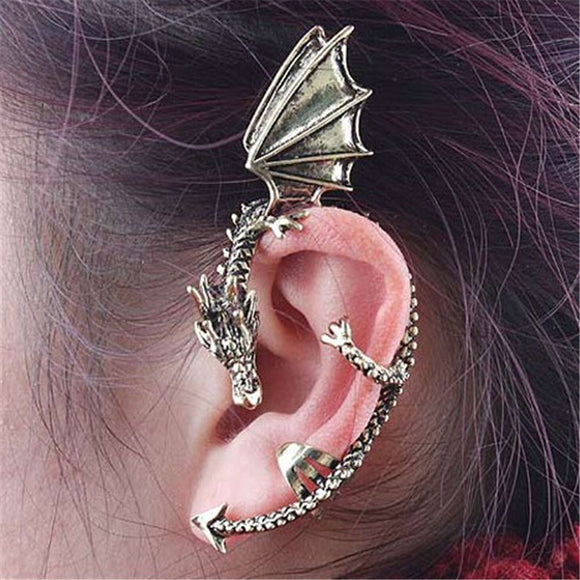 Gothic Punk Dragon Earring 1 Piece Non Pierced Ear Cuff Stud Earring