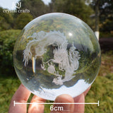 JQJ 3D Crystal Dragon Ball Figurine Feng shui Desk Decorative Storm Glass Marbles Balls Ornaments Animals Dragon Statue Crafts